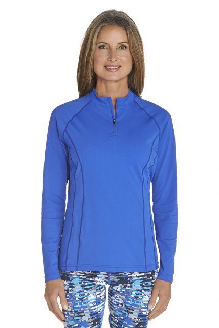 Coolibar---UV-Schwimmshirt-langer-Arm-Damen---Kobalt-Blau