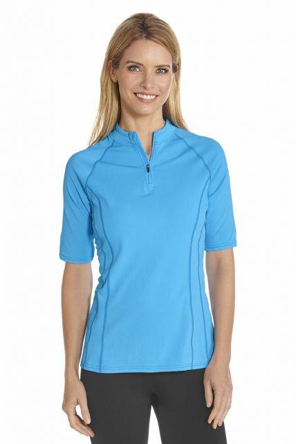 Coolibar---UV-Schwimmshirt-kurzer-Arm-Damen---Azur-Blau