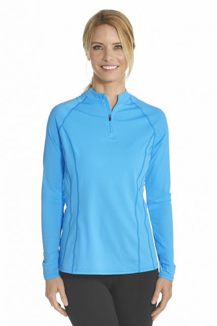 Coolibar---UV-Schwimmshirt-langer-Arm-Damen---Azur-Blau