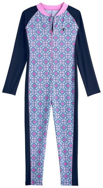 Coolibar---UV-Schwimmanzug-für-Mädchen---Langarm---Mosaïque---Multi