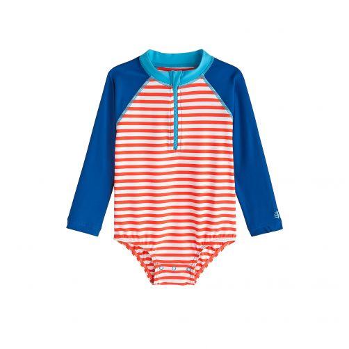 Coolibar---UV-Badeshirt-für-Babys-mit-langen-Ärmeln---Rot-Weiß-gestreift-