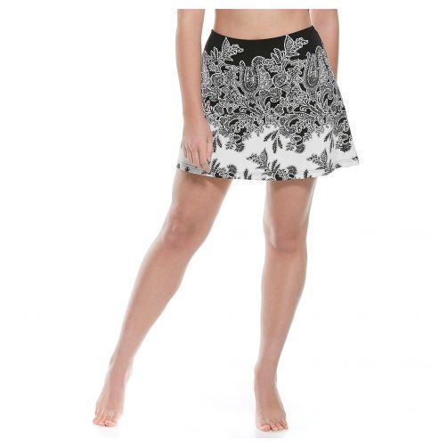 Coolibar---UV-Schwimmrock-Damen---Schwarz-Paisley