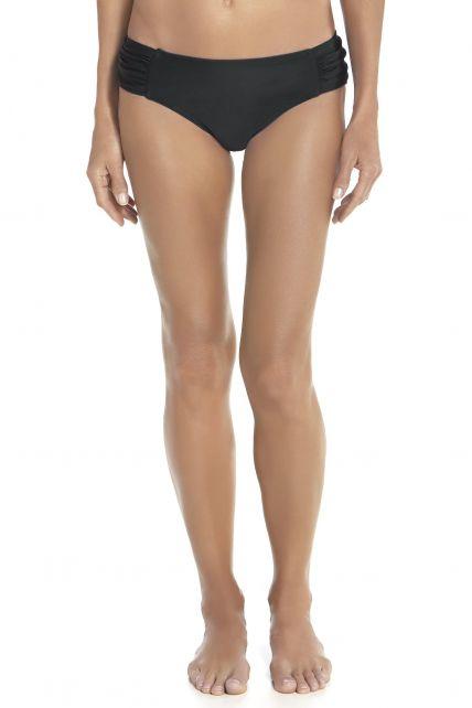 Coolibar---UPF50+-Bikini-Ruche-Unterteil--Schwarz