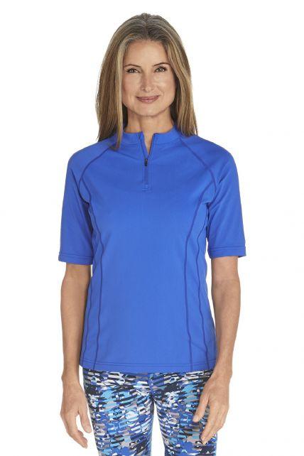 Coolibar---UV-Schwimmshirt-kurzer-Arm-Damen---Kobalt-Blau