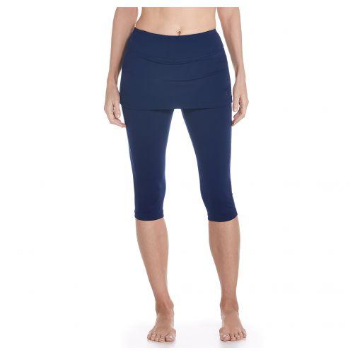 Coolibar---UV-Schwimmleggings-mit-Rock-für-Damen---Marineblau