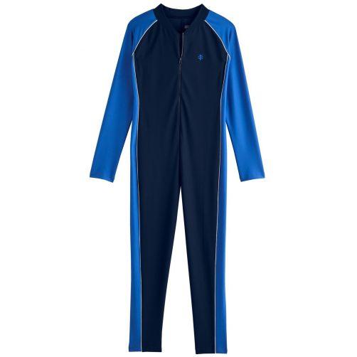 Coolibar---UV-Schwimmanzug-für-Jungen---Langarm---Navy-/-Baja-Blau