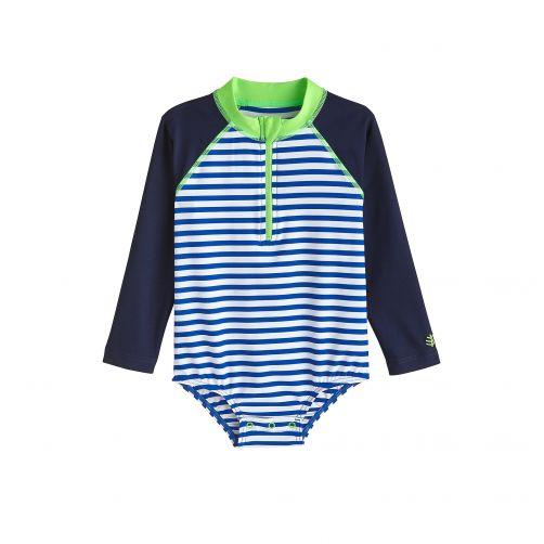 Coolibar---UV-Badeshirt-für-Babys-mit-langen-Ärmeln---Blau-Weiß-gestreift