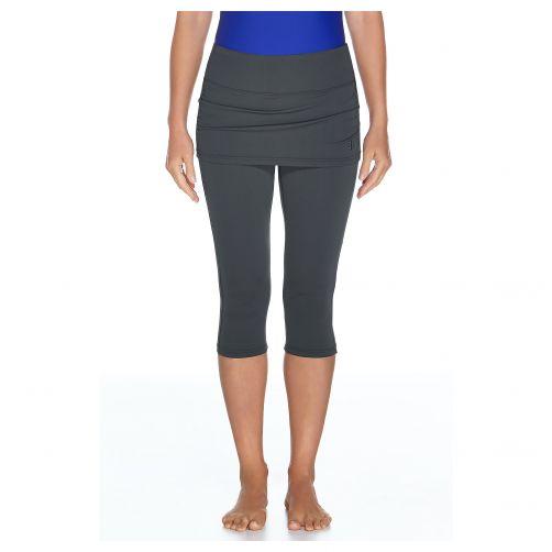 Coolibar---UV-Schwimmleggings-für-Damen-mit-intigriertem-Rock---Grau