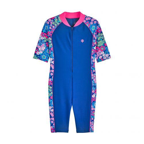 Coolibar---UV-Schwimmanzug-für-Kinder---Marineblau/Geblümt