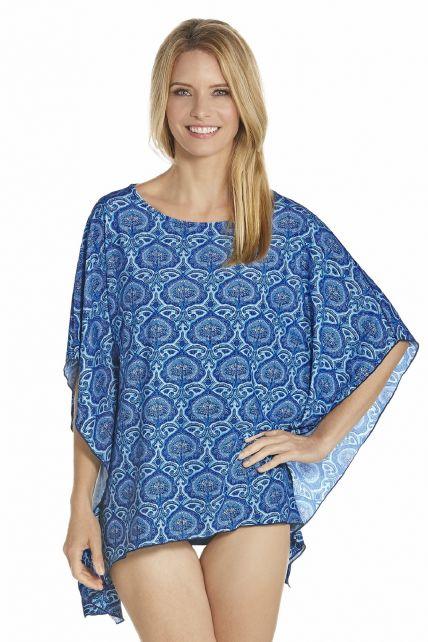 Coolibar---UV-Strand-Poncho-Damen---Blau
