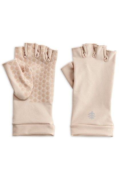 Coolibar---UV-schützende-fingerlose-Handschuhe-für-Erwachsene---Ouray---Beige