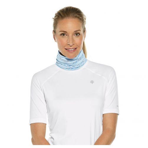 Coolibar---UV-schützender-Kragen-für-Hals-und-Gesicht---Blau/Weiß-Gestreift