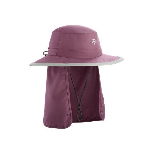 Coolibar---Kinder-UV-Hut-mit-versteckbarem-Nackenschutz---Dunkelviolett
