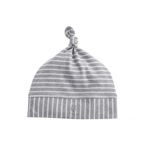 Coolibar---UV-Beaniemütze-für-Babys---Grau/Weiß-gestreift
