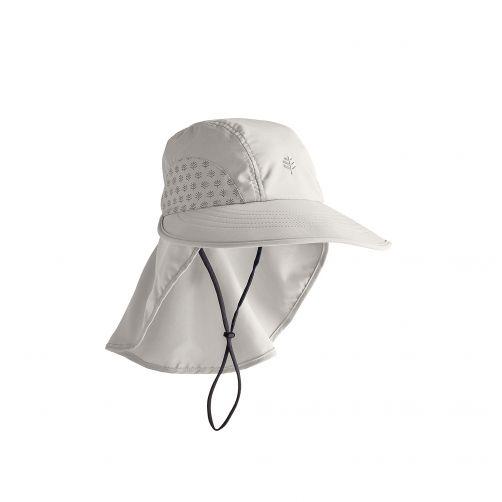Coolibar---UV-Kappe-mit-Nackenschutz-für-Kinder---Hellgrau