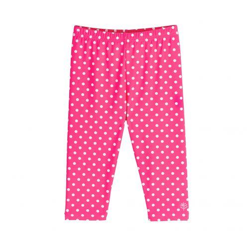 Coolibar---UV-Schwimmleggings-3/4-Länge-für-Kinder---Pink/Weiß