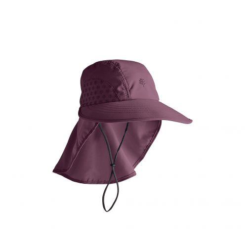 Coolibar---UV-Kappe-mit-Nackenschutz-für-Kinder---Dunkelviolett