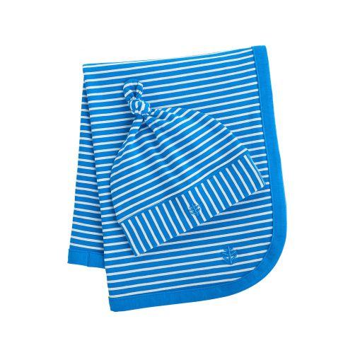Coolibar---UV-Set-Babymütze-und-Decke---Blau/Weiß-gestreift