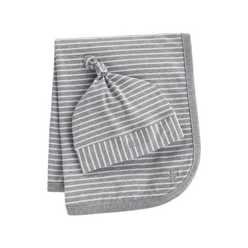 Coolibar---UV-Set-Babymütze-und-Decke---Grau/Weiß-gestreift