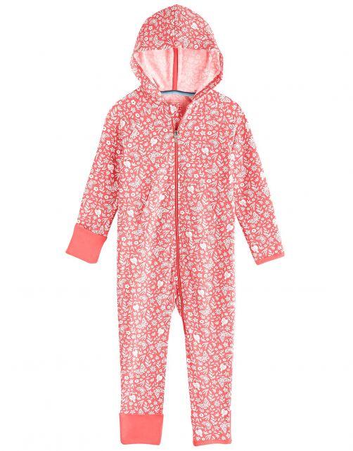 Coolibar---UV-Strampler-mit-Kapuze-für-Babys---LumaLeo-Bodysuit---Pfirsich-Floral