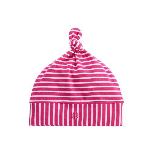 Coolibar---UV-Beaniemütze-für-Babys---Pink/Weiß-gestreift
