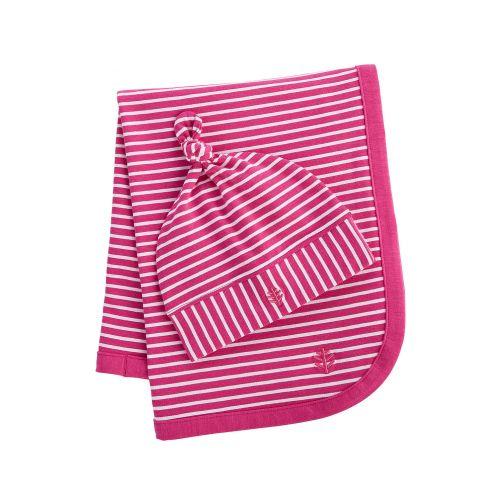 Coolibar---UV-Set-Babymütze-und-Decke---Pink/Weiß-gestreift