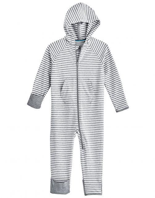 Coolibar---UV-Strampler-mit-Kapuze-für-Babys---LumaLeo-Bodysuit---Grau/Weiß