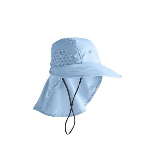 Coolibar---UV-Kappe-mit-Nackenschutz-für-Kinder---Hellblau