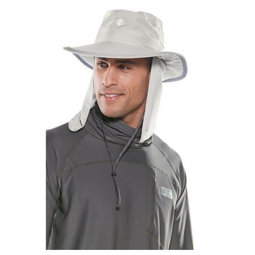 Coolibar---Multifunktioneller-UV-Hut-mit-Nackenschutz-für-Erwachsene---Boating---Hellgrau