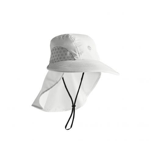 Coolibar---UV-Kappe-mit-Nackenschutz-für-Kinder---Explorer---Weiß