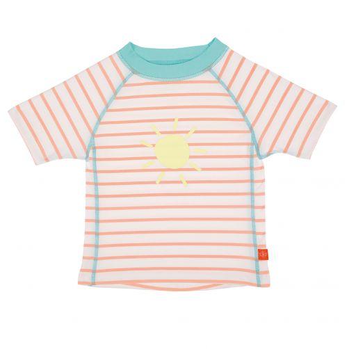 Lässig---UV-schützendes-Badeshirt-für-Kinder---Weiß/Apricot/Blau