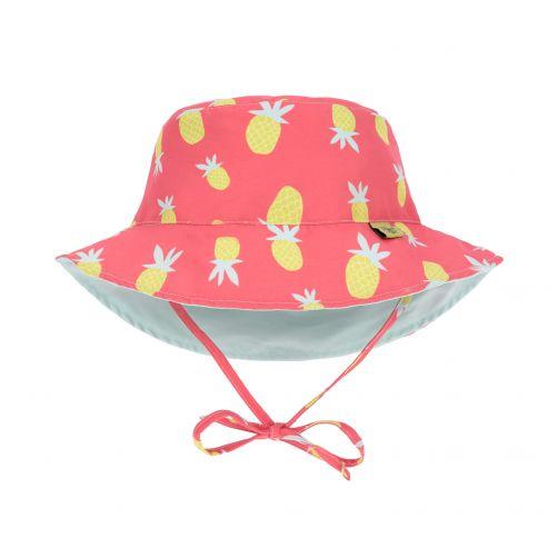 Lässig---UV-Wendehut-für-Mädchen---Ananas---Koralle-/-Hellblau