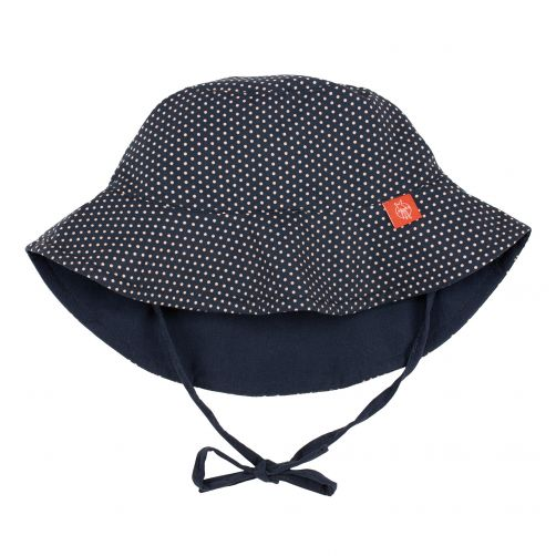 Lässig---UV-Bucket-Hut-für-Kinder---Polkadots---Dunkelblau
