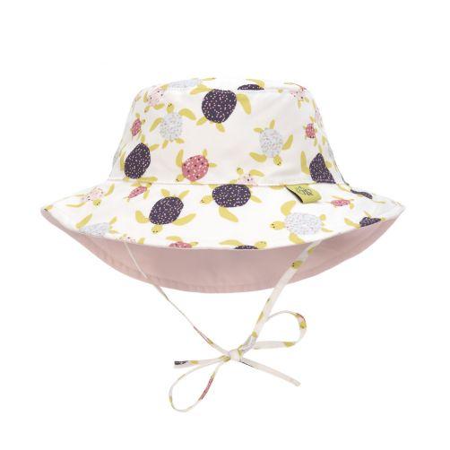 Lässig---UV-Wendehut-für-Mädchen---Schildkröten---Weiß-/-Pink