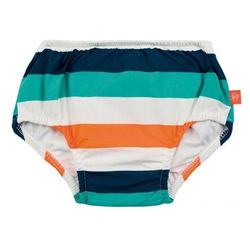 Lässig---Schwimmwindel-für-Babys---Gestreift---Weiß/Blau/Apricot