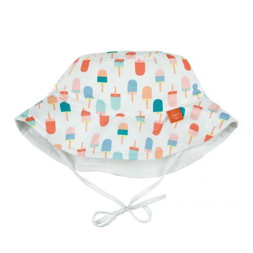 Lässig---UV-Bucket-Hut-für-Kinder---Ice-cream---Weiß/Apricot/Blau