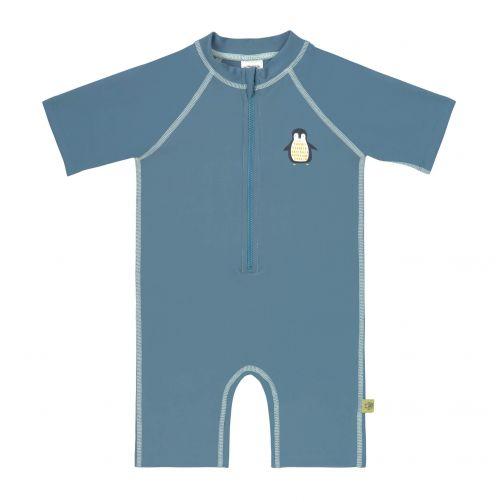 Lässig---UV-Schwimmanzug-für-Kleinkinder---Kurzarm---Pinguin---Blau