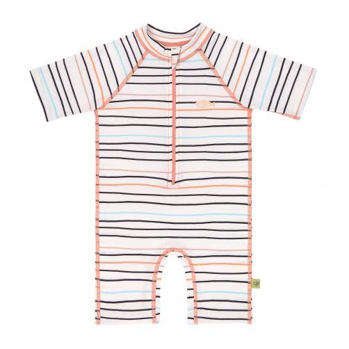 Lässig---UV-Schwimmanzug-für-Mädchen---Kurzarm---Streifen-mehrfarbig