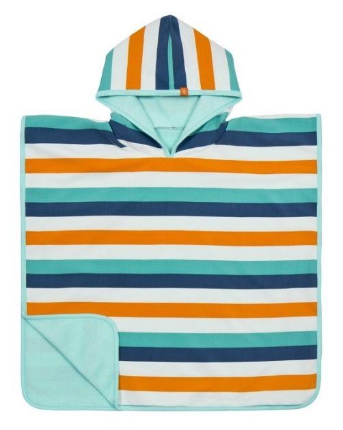 Lässig---Strandponcho-für-Kinder---Gestreift---Weiß/Blau/Orange