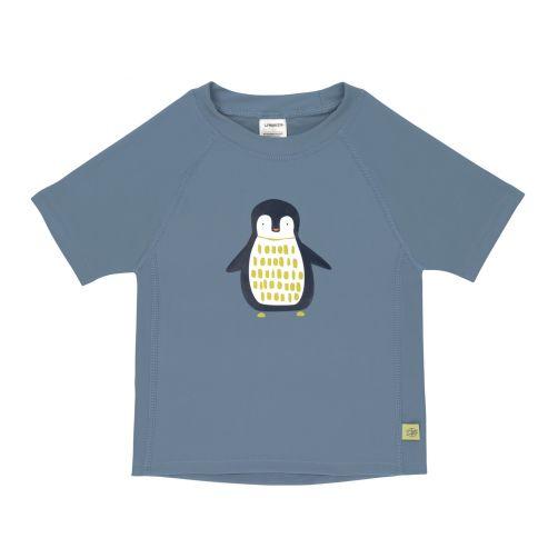 Lässig---UV-Badeshirt-für-Kinder---Kurzarm---Pinguin---Blau