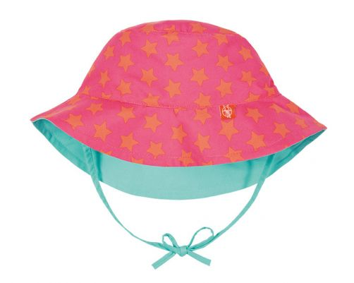 Lässig---UV-Bucket-Hut-für-Kinder---Stars---Rosa/Apricot