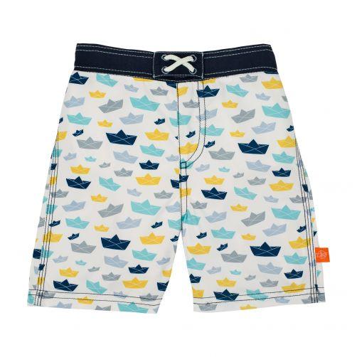 Lässig---Schwimmshorts-für-Jungen---Boat---Weiß/Blau/Gelb