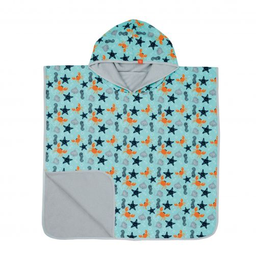 Lässig---Strandponcho-mit-Kapuze-für-Kinder---Star-Fish---Hellblau