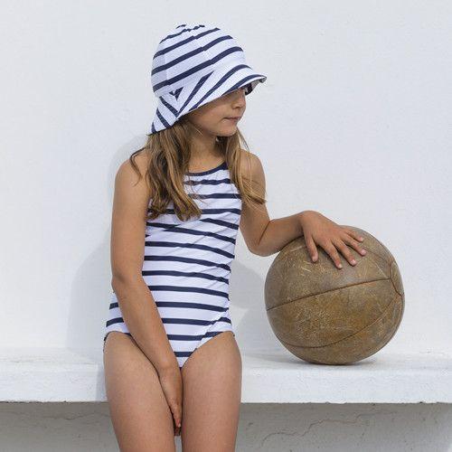Petit-Crabe---UV-Badeanzug---Gestreift---Weiß/Blau