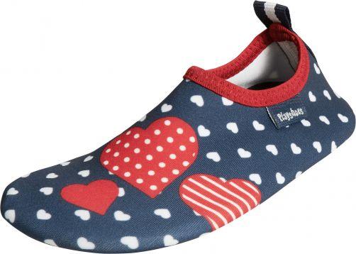 Playshoes---UV-Barfußschuhe-für-Mädchen---Herzen---dunkelblau