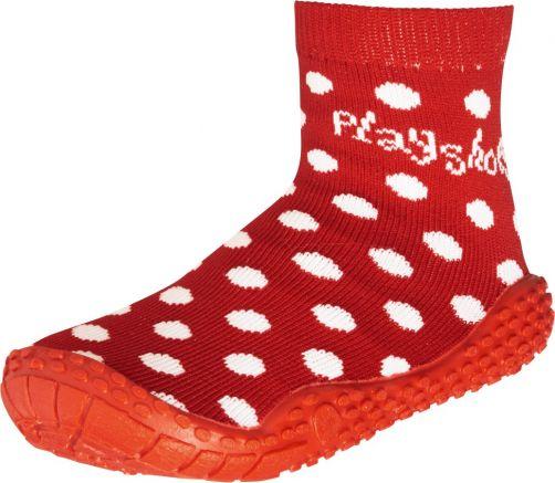 Playshoes---Schwimmsocken-für-Kinder---Weiß-gepunktet---Rot