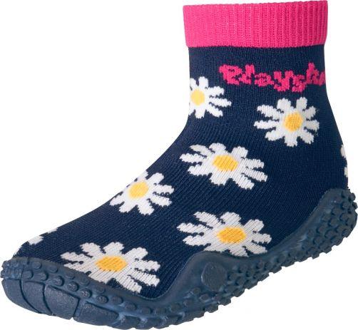 Playshoes---Schwimmsocken-für-Mädchen---Margerite---Marineblau-/-Pink