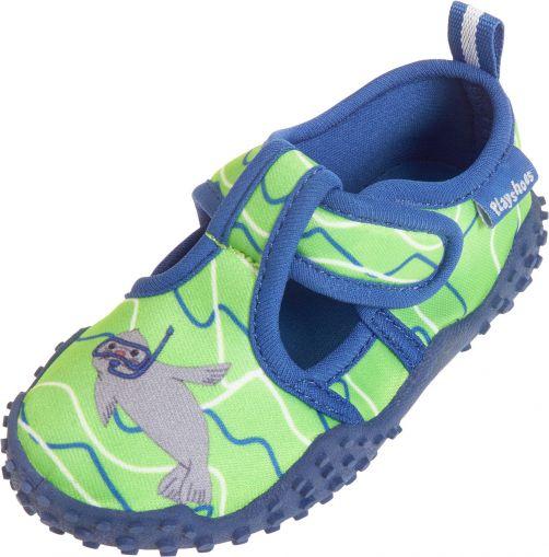 Playshoes---UV-Badeschuhe-für-Kinder---Robbe---blau-/-grün