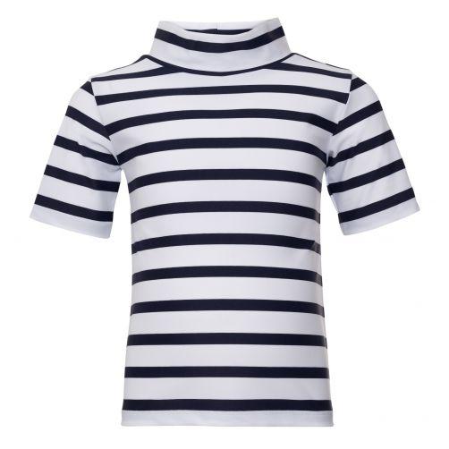 Petit-Crabe---UV-Shirt-Kurzärmlig-Mit-Kragen---Gestreift---Weiß/Blau