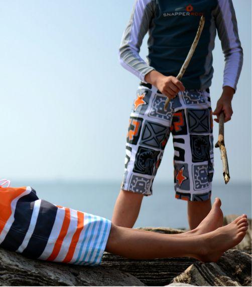 Snapper-Rock---UV-Langarm-Shirt-für-Kinder-grau-weiß